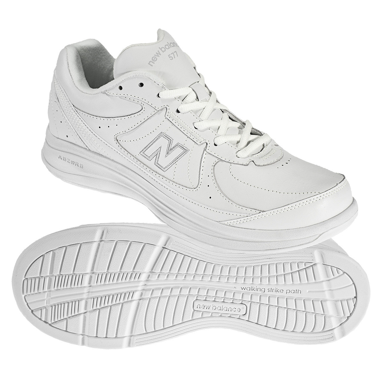 chaussures de sport f4a99 c6f35 New Balance Men's MW577WT. Cushioned Leather Walker in Widths B to 4E -  Made in USA!