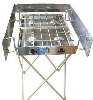 """Stove stand and optional windscreen is available for 16"""", 18"""", 22"""" and 26"""" stoves. The stand height is 32"""", making the cooking surface 35"""" high."""