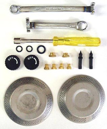 The emergency repair kit includes common parts that may be needed to repair any of the stoves and get them back into working order. Also includes tools, a handy zippered carry bag and a repair guide.