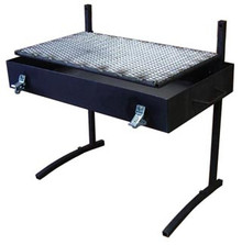 This Fire Pan has a floating stainless steel bottom so that your fire won't burn through. It also has a removable stainless steel grill for durability. The legs can be removed and with the included lid, the whole thing is closed up in a single, neat case. You can now have a camp fire anywhere for grilling and roasting. The Fire Pan comes in two sizes: Small is 12 x 24 x 3 1/4, Large is 18 x 30 x 3 1/4
