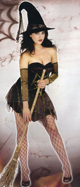 Sexy Witch Costume with Hat and Arm Covers