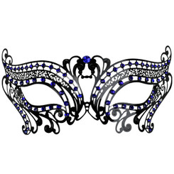 Black Metal Filigree Mask with blue jewels