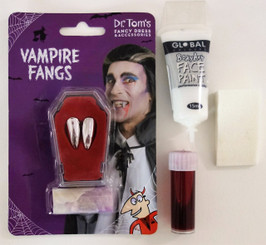 Budget Vampire Kit, White Water based Makeup, Fake Blood, Applicator Sponge.