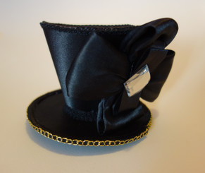 Jewelled Black Mini Top Hat, Steampunk, Burlesque, Novelty