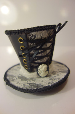 Black Steampunk Mini Top Hat with White Lace, Lacing and Cameo Details