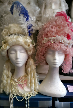 Pink and Blonde Powdered Wigs after styling.