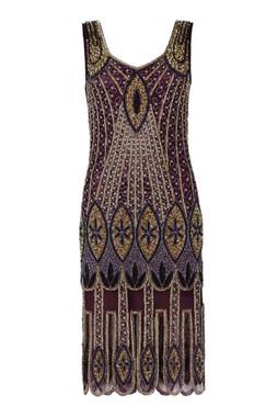 Plum Coloured Beaded 1920's Flapper Dress