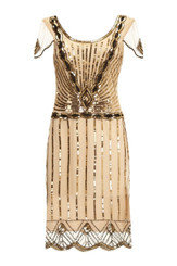Gold and Cream 1920's dress in size 24 to hire