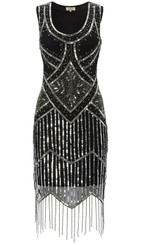 Black and Silver Gatsby Dress in Size 8 - The Littlest Costume Shop