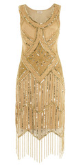 Gold 1920's dress in size 12 for Hire