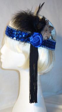 Blue tasselled 1920's headdress