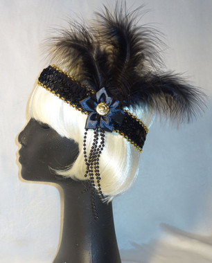 Black feathered 1920's headdress with Ribbon Flower and Gold button detail