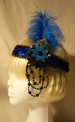 Blue jewelled 1920's headdress