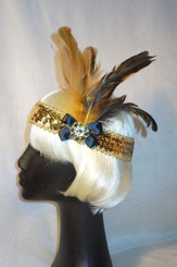Glittering Gold and black 1920's headdress