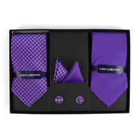 DOTTED & SOLID TIE WITH MATCHING HANKY AND CUFFLINKS