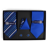 BLUE STRIPED & SOLID TIE WITH MATCHING HANKY AND CUFFLINKS