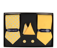 YELLOW POLKA DOT & SOLID TIE WITH MATCHING HANKY AND CUFFLINKS