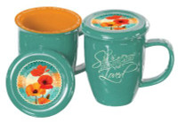 POPPIES COVERED MUG  TEAL/ORANGE