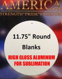 "11.75"" Round Aluminum Sublimation Sign Blank with Mounting Hole"