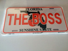 "High Gloss Embossed Aluminum  License Plate Prints FL "" THE BOSS"" LOT of 100PCS"