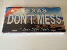 "High Gloss Embossed Aluminum Auto License Plates TX "" DON'T MESS "" LOT of 10PCS"