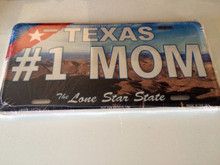 "High Gloss Embossed Aluminum  License Plate Prints TX "" #1 MOM "" LOT of 100PCS"