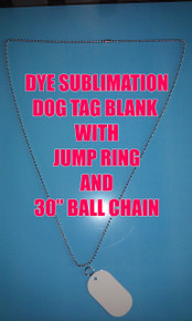 "Gloss White Aluminum Dye Sublimation Dog Tag Blanks -  50PC Lots with 30"" Chains"