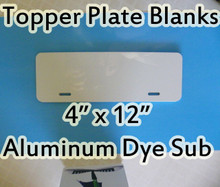 "Auto License Plate Topper Aluminum Sublimation Blanks 4"" x 12"""