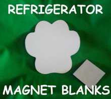 """Refrigerator Magnet Dog Paw - 4"""" Gloss White Aluminum Dye Sublimation Blank with Magnet"""