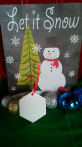 Christmas Hex Ornaments TWO SIDED WHITE Aluminum Dye Sublimation Blanks