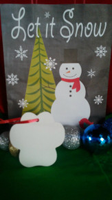 Christmas Paw Print Ornaments TWO SIDED WHITE Aluminum Sublimation Blanks 1.02ea-10PCs