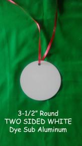 "3.5"" Round Ornament Two Sided White Aluminum Dye Sublimation  Blanks , 10PCs"