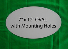 """Aluminum Sublimation Oval Sign Blanks 7"""" x 12"""" with Mounting Holes"""