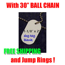 "Dog Tag Blank for Dye Sublimation with 30"" Ball Chain & Jump Ring-FREE SHIPPING"