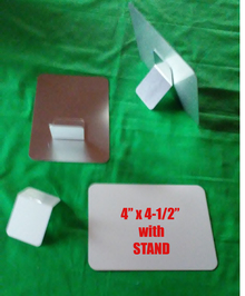 """Aluminum Dye Sublimation Photo Blanks 4"""" x 4-1/2"""" with Stand"""