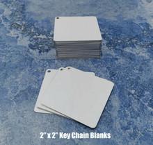"50ea Dye Sublimation Aluminum key chain blanks 2""x 2"""