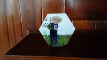 Desk Top Hex Photo Blank -  Custom Aluminum Dye Sublimation Blank with Stand