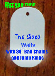 """2 Sided White Aluminum Sublimation Dog Tag Blanks, 30"""" Ball Chains Free Shipping 500PCs"""