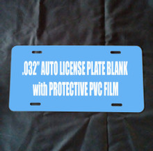 "BLUE PVC FILM - Dye Sublimation Auto License Plate Blanks with PVC -100PCs .032""thick Free Ship!"