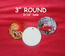 """3"""" Blank Aluminum Sublimation Discs with 3/16"""" Hole for Hanging 50PCs"""