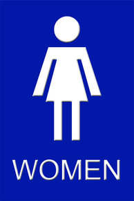 "Womens Bathroom Sign 12"" x 8"" High Gloss Aluminum"