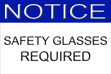 "Safety Glasses Required Sign 12"" x 8"" High Gloss Aluminum"