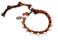 Olivia: Freshwater Pearls + Deerskin Leather Bracelet