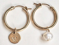 Initial Hoops: 14kt Gold Fill Initial Tag + Pearl