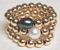 Trio: 14kt Gold Fill Beads + Pearls