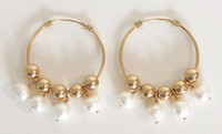 Vita 30mm: 14kt Gold-Filled Hoops and Beads + Pearls