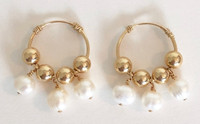 Vita Hoops 20mm: 14kt Gold-Filled Hoops and Beads + Pearls