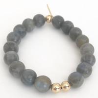 Labradorite Stretch Bracelet: Labradorite + 14kt Gold Fill