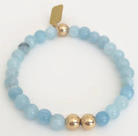 Aquamarine Stretch Bracelet: Aquamarine Beads + 14kt Gold-Filled Beads
