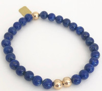 Lapis Lazuli Stretch Bracelet: Lapis Beads + 14kt Gold-Filled Beads